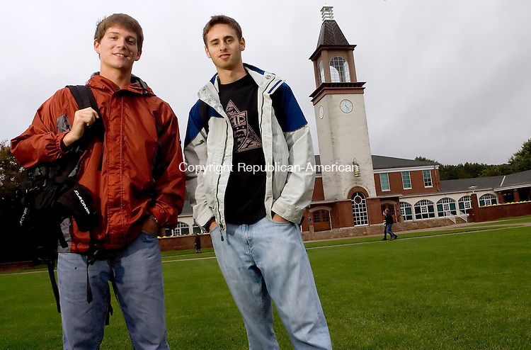 HAMDEN, CT- 26 SEPTEMBER 2008- 092608JT04-<br /> Quinnipiac University students Matt Andrew, of Naugatuck, and Jason Braff, of Glen Rock, New Jersey, are editors of The Quad News, a new news source that was created after staff of the school's student-run newspaper, The Chronicle, disagreed with Quinnipiac's administration over the freedom of speech.<br /> Josalee Thrift / Republican-American