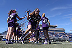 DURHAM, NC - FEBRUARY 18: Northwestern's Holly Korn (34). The Duke University Blue Devils hosted the Northwestern University Wildcats on February 18, 2018, at Koskinen Stadium in Durham, NC in women's college lacrosse match. Duke won the game 9-8.