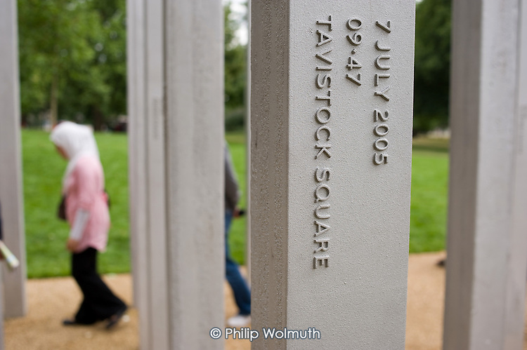 The 7/7 Monument in Hyde Park.  The memorial to the 52 people killed in the London bombings of 7 July 2005 was designed by architects Kevin Carmody and Andy Groarke. Tavistock Square was the site of the site of one of the bombings.