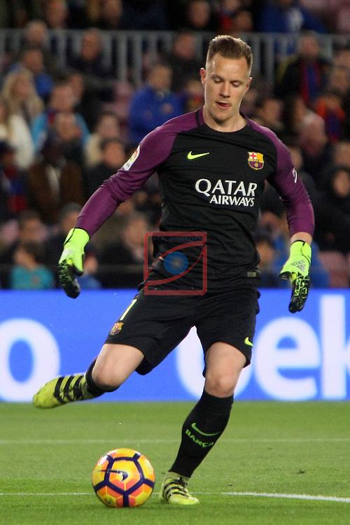 League Santander 2016/2017. Game: 25.<br /> FC Barcelona vs Real Sporting SAD: 6-1.<br /> Marc Andre Ter Stegen.