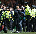 Neil Lennon at the final whistle he can't believe it