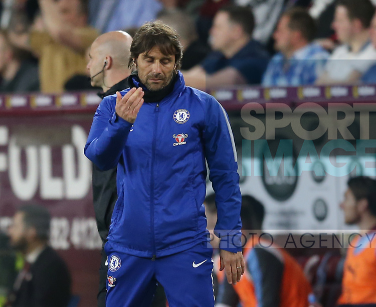 Antonio Conte manager of Chelsea frustrated during the premier league match at the Turf Moor Stadium, Burnley. Picture date 19th April 2018. Picture credit should read: Simon Bellis/Sportimage