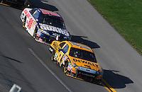 Apr 26, 2009; Talladega, AL, USA; NASCAR Sprint Cup Series driver Matt Kenseth (17) leads Dale Earnhardt Jr (88) during the Aarons 499 at Talladega Superspeedway. Mandatory Credit: Mark J. Rebilas-