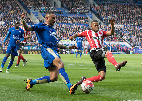 03.04.2016. King Power Stadium, Leicester, England. Barclays Premier League. Leicester versus Southampton.  Southampton defender Ryan Bertrand tries to stop Leicester City defender Danny Simpson passing the ball down the side line.