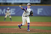 High Point Panthers relief pitcher Bryan Woelfel (57) delivers a pitch to the plate against the Campbell Camels at Williard Stadium on March 16, 2019 in  Winston-Salem, North Carolina. The Camels defeated the Panthers 13-8. (Brian Westerholt/Four Seam Images)