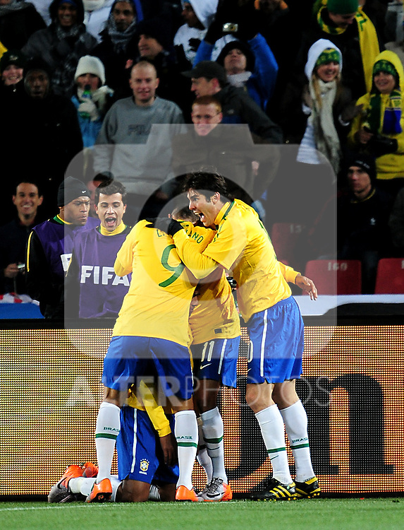 Brazil celebrate their first goal  during the 2010 FIFA World Cup South Africa Group G match between Brazil and North Korea at Ellis Park Stadium on June 15, 2010 in Johannesburg, South Africa.