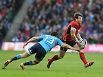 Luca Morisi of Italy tackles Peter Horne of Scotland - RBS 6Nations 2015 - Scotland  vs Italy - BT Murrayfield Stadium - Edinburgh - Scotland - 28th February 2015 - Picture Simon Bellis/Sportimage