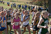 Jackson senior Carli Knott runs in the middle of the pack early in the Class 4 race at the 2015 MSHSAA State Cross Country Championships. <br /> Knott went on to earn All-State honors with her 8th-place finish, leading Jackson to a fourth-place team finish.