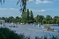 "Henley on Thames, United Kingdom, 21st June 2018, Thursday, Training day before the start of  ""Henley Women's Regatta"", Crews Turning at the gap, to return to the start of the course, Henley Reach, Thames Valley, River Thames, England, © Peter SPURRIER"