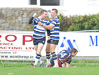 26th October 2013; James Buckley, Corinthians, is congratulated by his teammate David Panter after scoring his side's first try. Ulster Bank League Division 1B, Blackrock College v Corinthians, Stradbrook Road, Dublin. Picture credit: Tommy Grealy / Actionshots.ie