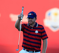 J.B. Holmes US Team lines up his putt at the 18th green during Saturday Afternoon Fourball Matches of the 41st Ryder Cup, held at Hazeltine National Golf Club, Chaska, Minnesota, USA. 1st October 2016.<br /> Picture: Eoin Clarke | Golffile<br /> <br /> <br /> All photos usage must carry mandatory copyright credit (&copy; Golffile | Eoin Clarke)