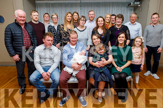 Double celebrations for the O'Halloran family from Ballyheigue as the celebrate the christening of baby Aoibhín and their daughters Caoimhe's 3rd birthday in the Ballyroe Heights Hotel on Sunday.<br />  L to r: Sean Devitt (GF), Declan, Aoibhín, Caoimhe and Roisin O'Halloran and Maura O'Callaghan (GF)