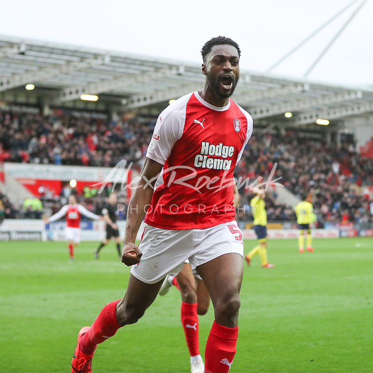 Rotherham United VS Blackburn Rovers<br /> <br /> New York Stadium, Saturday 2nd March 2019 <br /> <br /> Semi Ajayi Celebrates scoring his second of the day to make it 3-1 to The Millers