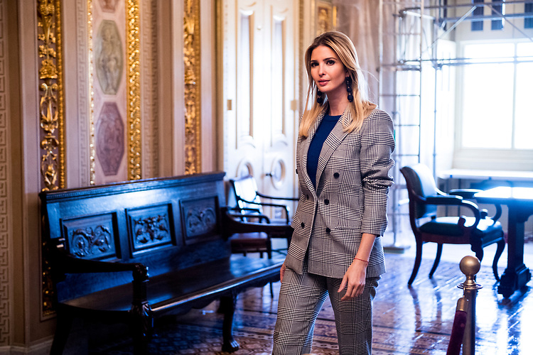 UNITED STATES - OCTOBER 25: Ivanka Trump walks through the Senate Reception Room in the Capitol before holding a press conference on child tax credits on Wednesday, Oct. 25, 2017. (Photo By Bill Clark/CQ Roll Call)