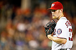 Washington Nationals right-handed pitcher Stephen Strasburg (37) throws during the early innings of a game against the Miami Marlins at Nationals Park in Washington, DC on September 7, 2012.