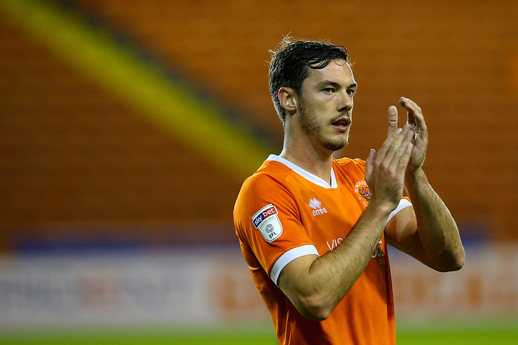 Blackpool's Ben Heneghan applauds the fans<br /> <br /> Photographer Alex Dodd/CameraSport<br /> <br /> EFL Leasing.com Trophy - Northern Section - Group G - Blackpool v Morecambe - Tuesday 3rd September 2019 - Bloomfield Road - Blackpool<br />  <br /> World Copyright © 2018 CameraSport. All rights reserved. 43 Linden Ave. Countesthorpe. Leicester. England. LE8 5PG - Tel: +44 (0) 116 277 4147 - admin@camerasport.com - www.camerasport.com