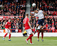 Bolton Wanderers' Josh Magennis heads in the penalty area<br /> <br /> Photographer Andrew Kearns/CameraSport<br /> <br /> The EFL Sky Bet Championship - Nottingham Forest v Bolton Wanderers - Sunday 5th May 2019 - The City Ground - Nottingham<br /> <br /> World Copyright © 2019 CameraSport. All rights reserved. 43 Linden Ave. Countesthorpe. Leicester. England. LE8 5PG - Tel: +44 (0) 116 277 4147 - admin@camerasport.com - www.camerasport.com