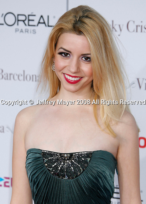 """Actress Masiela Lusha arrives at The Los Angeles Premiere of """"Vicky Cristina Barcelona"""" at the Mann Village Theatre on August 4, 2008 in Westwood, California."""