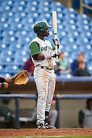 Fort Wayne TinCaps shortstop Ruddy Giron (12) at bat during a game against the Lake County Captains on May 20, 2015 at Classic Park in Eastlake, Ohio.  Lake County defeated Fort Wayne 4-3.  (Mike Janes/Four Seam Images)