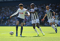 Tottenham Hotspur's Dele Alli vies for possession with West Bromwich Albion's Allan-Romeo Nyom<br /> <br /> Photographer Ashley Crowden/CameraSport<br /> <br /> The Premier League - West Bromwich Albion v Tottenham Hotspur - Saturday 5th May 2018 - The Hawthorns - West Bromwich<br /> <br /> World Copyright &copy; 2018 CameraSport. All rights reserved. 43 Linden Ave. Countesthorpe. Leicester. England. LE8 5PG - Tel: +44 (0) 116 277 4147 - admin@camerasport.com - www.camerasport.com