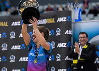 Steel captain Wendy Frew celebrates winning the ANZ Premiership netball grand final between the Central Pulse and Southern Steel at Arena Manawatu in Palmerston North, New Zealand on Sunday, 12 August 2018. Photo: Dave Lintott / lintottphoto.co.nz