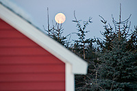 The full moon over a red farm building.