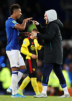 29th October 2019; Goodison Park, Liverpool, Merseyside, England; English Football League Cup, Carabao Cup Football, Everton versus Watford; scorer of Everton's first goal Mason Holgate celebrates with team mate Tom Davies  - Strictly Editorial Use Only. No use with unauthorized audio, video, data, fixture lists, club/league logos or 'live' services. Online in-match use limited to 120 images, no video emulation. No use in betting, games or single club/league/player publications