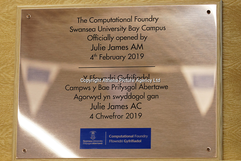 Pictured: The plaque unveiled. Monday 04 February 2019<br /> Re: Opening of the Computational Foundry at the Swansea University Bay Campus, south Wales, UK.