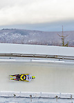 9 January 2016: Ander Mirambell, competing for Spain, slides through Curve 14 on his second run of the day during the BMW IBSF World Cup Skeleton Championships at the Olympic Sports Track in Lake Placid, New York, USA. Mirambell ended the day with a combined 2-run time of 1:51.56 and an 18th place overall finish. Mandatory Credit: Ed Wolfstein Photo *** RAW (NEF) Image File Available ***