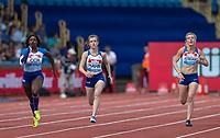 100m Women - T37/38 - Sophie HAHN (centre) wins with Kadeena COX (left) 2nd & Georgina HERMITAGE 3rd during the Muller Grand Prix Birmingham Athletics at Alexandra Stadium, Birmingham, England on 20 August 2017. Photo by Andy Rowland.