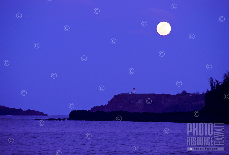 Kilauea lighthouse on Kauai's north shore with moonrise from Anini beach
