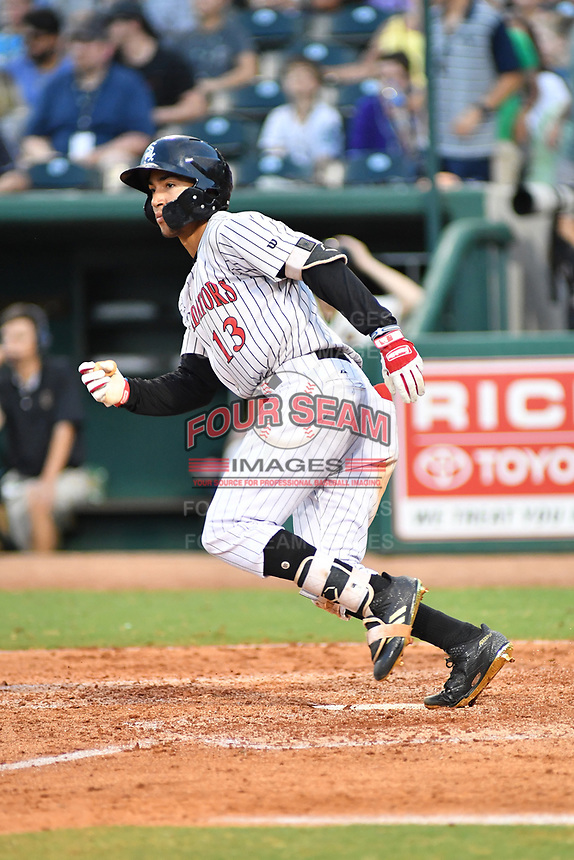 Northern Divisions shortstop Laz Rivera (13) of the Kannapolis Intimidators runs to first base during the South Atlantic League All Star Game at First National Bank Field on June 19, 2018 in Greensboro, North Carolina. The game Southern Division defeated the Northern Division 9-5. (Tony Farlow/Four Seam Images)