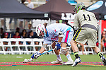Costa Mesa, CA 06/08/13 - Danny Hennghan (Team Maverik #11) and Ian Mills (Team STX #33) in action during the inaugural game of the LXMPRO Tour in Orange County.  The Team STX defeated Team Maverik 14-13 at Orange Coast College's Bard Stadium.