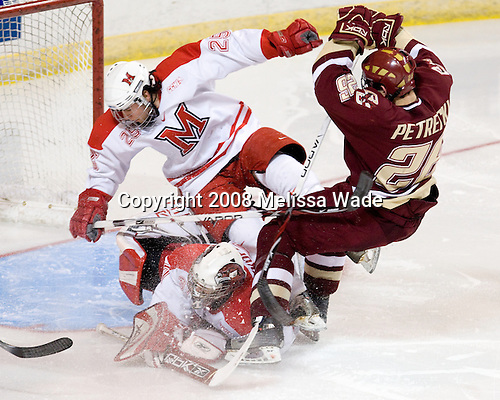 Jeff Zatkoff (Miami - 37), Mitch Ganzak (Miami - 25), Nick Petrecki (BC - 26) - The Boston College Eagles defeated the Miami University RedHawks 4-3 in overtime on Sunday, March 30, 2008 in the NCAA Northeast Regional Final at the DCU Center in Worcester, Massachusetts.