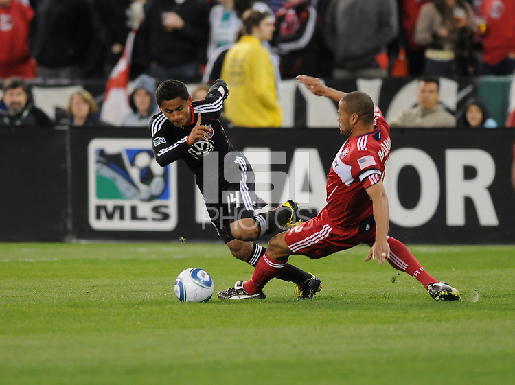 Chicago Fire defender C.J. Brown fouls DC United midfielder Andy Najar (14). The Chicago Fire defeated DC United 2-0 at RFK Stadium, Saturday April 17, 2010.