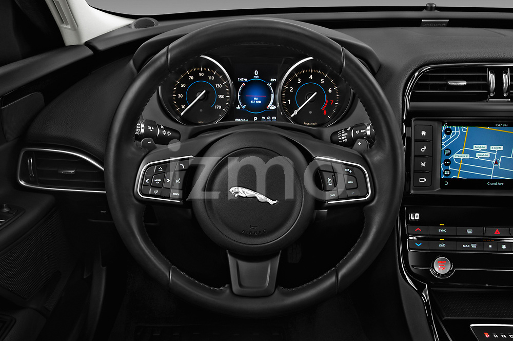 Car pictures of steering wheel view of a 2019 Jaguar XE R-Sport 4 Door Sedan
