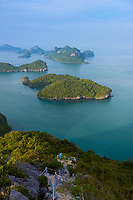 On Top of the rocky hill trail in Ko Wua Talap, Ang Thong park, Thailand