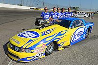 Sept. 29, 2012; Madison, IL, USA: NHRA pro mod driver Mike Janis and crew pose for a photo with his car during qualifying for the Midwest Nationals at Gateway Motorsports Park. Mandatory Credit: Mark J. Rebilas-
