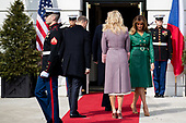 United States President Donald Trump and First Lady Melania Trump welcome Czech Republic Prime Minister Andrej Babiš and Mrs. Monika Babišová on the South Portico at White House in Washington, District of Columbia on Thursday, March 7, 2019. Credit: Ting Shen / CNP