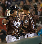 "Hank Conger is congratulated by teammates after hitting a home run during the Reno Aces ""Star Wars Night"" game at Greater Nevada Field in Reno on Saturday, June 17, 2017."