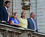 Princesse L&eacute;a de Belgique et le Roi Fouad II d'Egypte pr&eacute;sents lors de l&rsquo;&eacute;dition 2014 du spectacle historique de l&rsquo;Ommegang, a la Grand Place de Bruxelles.<br />  Belgique, Bruxelles, 03 juillet, 2014.