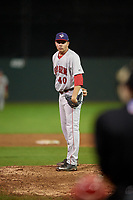 Auburn Doubledays relief pitcher David Smith (40) looks in for the sign during a game against the Batavia Muckdogs on September 6, 2017 at Dwyer Stadium in Batavia, New York.  Auburn defeated Batavia 6-3.  (Mike Janes/Four Seam Images)