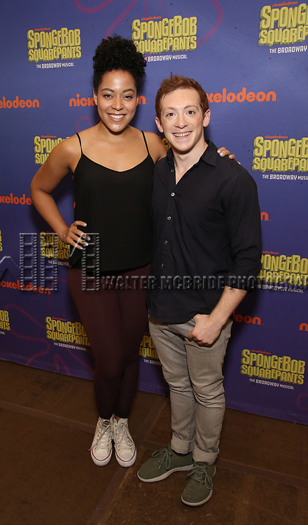 Lilli Cooper and Ethan Slater during the Rehearsal Press Preview of the New Broadway  Musical on 'SpongeBob SquarePants'  on October 11, 2017 at the Duke 42nd Street Studios in New York City.