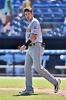 Charleston RiverDogs second baseman Kyle Holder (4) crosses the field during a game against the Asheville Tourists at McCormick Field on July 10, 2016 in Asheville, North Carolina. The Tourists defeated the RiverDogs 4-2. (Tony Farlow/Four Seam Images)