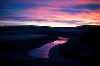 A sunset reflects off the Smith River off Millegan Road south of Ulm, Montana, USA.