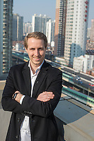 February 27, 2017, Shanghai, China - Fabian von Heimburg, 28, Co-founder and Managing Director of Hotnest Technology in his office on West Nanjing Road. (Dave Tacon/Sinopix)