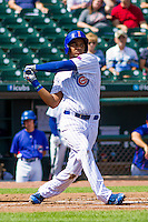 Iowa Cubs third baseman Jeimer Candelario (29) follows through with his swing during a game against the Colorado Springs Sky Sox on September 4, 2016 at Principal Park in Des Moines, Iowa. Iowa defeated Colorado Springs 5-1. (Brad Krause/Four Seam Images)