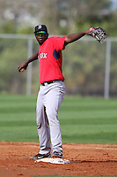 March 18, 2010:  Shortstop Oscar Tejeda of the Boston Red Sox organization during Spring Training at Ft.  Myers Training Complex in Fort Myers, FL.  Photo By Mike Janes/Four Seam Images