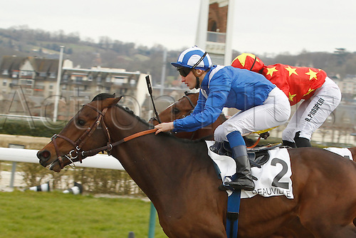 08.03.2016. Deauville, France.  Race 1, Prix de Bacqueville.  Winner Mutarakem with jockey Aurelien Lemaitre and 2nd placed Jackfish with Pierre Charles Boudot