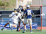 Tustin, CA 04/23/16 - Ellis Geis (Foothill #16), Ryan Winn {La Costa Canyon #12) and Crew Taylor {La Costa Canyon #25) in action during the non-conference CIF varsity lacrosse game between La Costa Canyon and Foothill at Tustin Union High School.  Foothill defeated La Costa Canyon 10-9 in sudden death overtime.
